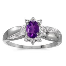 Certified 14k White Gold Oval Amethyst And Diamond Ring 0.35 CTW #PAPPS50885