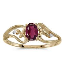 Certified 10k Yellow Gold Oval Rhodolite Garnet And Diamond Ring 0.5 CTW #PAPPS50700