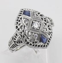 CZ / Sapphire Filigree Ring - Art Deco Style - Sterling Silver #PAPPS97436