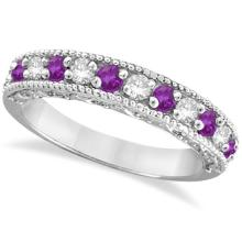 Diamond and Amethyst Band Filigree Design Ring 14k White Gold (0.60ct) #PAPPS20517