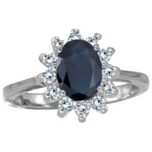Certified 14k White Gold Oval Sapphire And Diamond Ring 1.21 CTW #PAPPS25381