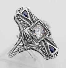 Art Deco CZ / Sapphire Filigree Ring - Sterling Silver #PAPPS97438