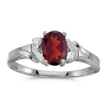 Certified 14k White Gold Oval Garnet And Diamond Ring 0.74 CTW #PAPPS50831