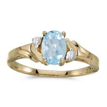 Certified 14k Yellow Gold Oval Aquamarine And Diamond Ring 0.6 CTW #PAPPS50894