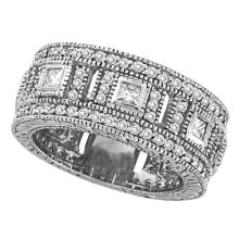 Round and Princess Eternity Diamond Byzantine Ring 14k White Gold (1.72ct) #PAPPS20425