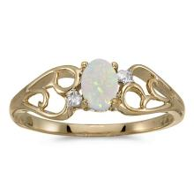 Certified 10k Yellow Gold Oval Opal And Diamond Ring 0.21 CTW #PAPPS50539