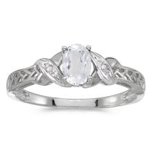 Certified 14k White Gold Oval White Topaz And Diamond Ring 0.49 CTW #PAPPS50826