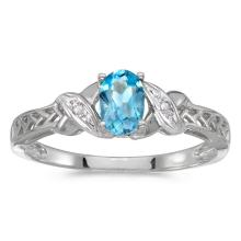 Certified 14k White Gold Oval Blue Topaz And Diamond Ring 0.41 CTW #PAPPS50772