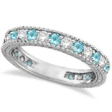 Diamond and Aquamarine Eternity Ring Band 14k White Gold (1.08ct) #PAPPS20509