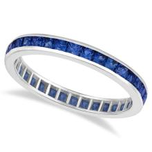 Princess-Cut Blue Sapphire Eternity Ring Band 14k White Gold (1.36ct) #PAPPS20393
