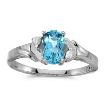Certified 14k White Gold Oval Blue Topaz And Diamond Ring 0.7 CTW #PAPPS50765
