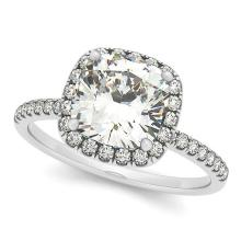 Cushion Diamond Halo Engagement Ring French Pave 14k W. Gold 1.58ct #PAPPS20462