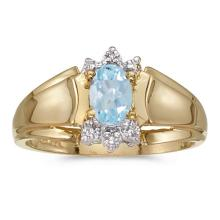 Certified 10k Yellow Gold Oval Aquamarine And Diamond Ring 0.3 CTW #PAPPS50834