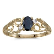 Certified 10k Yellow Gold Oval Sapphire And Diamond Ring 0.41 CTW #PAPPS50544