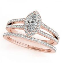 CERTIFIED 14KT ROSE GOLD 1.00 CT G-H/VS-SI1 DIAMOND HALO BRIDAL SET #PAPPS86179