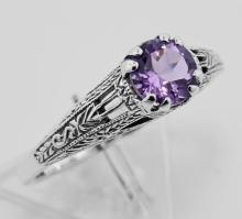Amethyst Filigree Ring - Sterling Silver #PAPPS97468