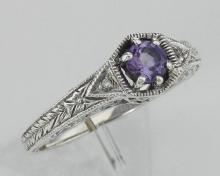 Victorian Style Amethyst Filigree Ring w/ 2 Diamonds - Sterling Silver #PAPPS97473