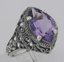 Victorian Style Amethyst Filigree Ring Sterling Silver #PAPPS97459