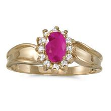 Certified 14k Yellow Gold Oval Ruby And Diamond Ring 0.5 CTW #PAPPS50950