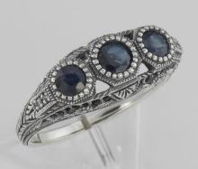 Art Deco Style Blue Sapphire Filigree Ring w/ 4 Diamonds - Sterling Silver #PAPPS97509