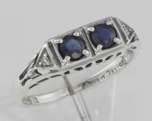Art Deco Style Sapphire Filigree Ring w/ 2 Diamonds - Sterling Silver #PAPPS97505