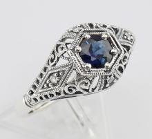 Art Deco Style Sapphire Filigree Ring w/ 4 Diamonds - Sterling Silver #PAPPS97508