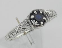 Art Deco Style Blue Sapphire Filigree Ring w/ 2 Diamonds - Sterling Silver #PAPPS97510