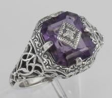 Art Deco Style Emerald Cut Amethyst Filigree Ring w/ Diamond - Sterling Silver #PAPPS97471