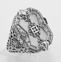 Victorian Style Camphor Glass Crystal w/ Diamond Filigree Ring - Sterling Silver #PAPPS97758
