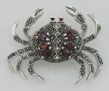 Marcasite / Garnet Crab Pin - Sterling Silver #PAPPS97728