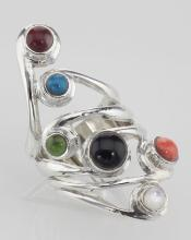 Unique Multi-Stone Ring - Sterling Silver #PAPPS97816