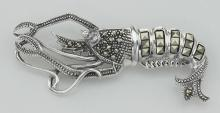 Marcasite Lobster Pin with Moving Tail - Sterling Silver #PAPPS97737