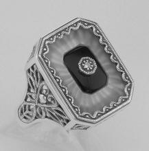 Victorian Style Camphor Glass / Black Onyx / Diamond Ring Sterling Silver #PAPPS97759