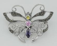 Marcasite Butterfly Pin with Gemstones - Sterling Silver #PAPPS97744