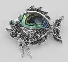 Cute Abalone Shell and Marcasite Fish Pin / Brooch - Sterling Silver #PAPPS97743