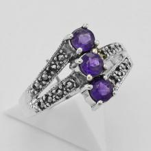 Amethyst Marcasite Ring - Sterling Silver #PAPPS97800