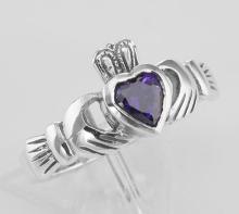 Irish Claddagh Ring w/ Amethyst CZ Gemstone - Sterling Silver #PAPPS97803