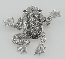 Marcasite / Garnet Frog Pin / Brooch - Sterling Silver #PAPPS97735