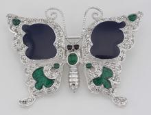 Antique Style Fine Enamel and Crystal Butterfly Pin - Sterling Silver #PAPPS97739