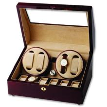 Wooden Quad Watch Winder and Display Case for Six Additional Timepieces #PAPPS20836