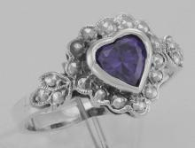 Victorian Style Heart Shaped Amethyst Colored CZ Ring - Sterling Silver #PAPPS97782