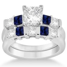 5 Stone Diamond and Blue Sapphire Bridal Set Platinum 1.02ct #PAPPS20901