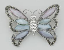 Marcasite Butterfly Pin / Brooch w/ Stones - Sterling Silver #PAPPS97742