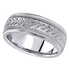 Hand Engraved Wedding Band Carved Ring in Platinum (6.5mm) #21346v3