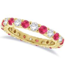 Ruby and Diamond Eternity Ring Band 14k Yellow Gold (1.07ct) #21250v3