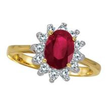 Lady Diana Oval Ruby and Diamond Ring 14k Yellow Gold (1.50 ctw) #21252v3