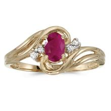 Certified 14k Yellow Gold Oval Ruby And Diamond Ring 0.4 CTW #51016v3