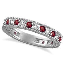 Diamond and Ruby Anniversary Ring Band 14k White Gold (1.08 ctw) #20495v3