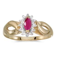 Certified 10k Yellow Gold Marquise Ruby And Diamond Ring 0.23 CTW #50593v3