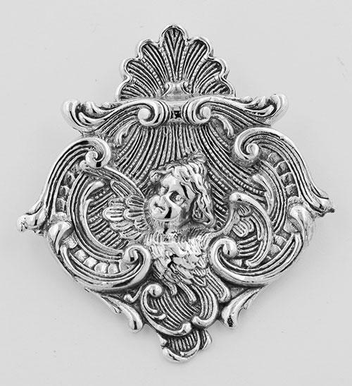 Art Nouveau Style Cherub Pin or Pendant - Sterling Silver #PAPPS97287
